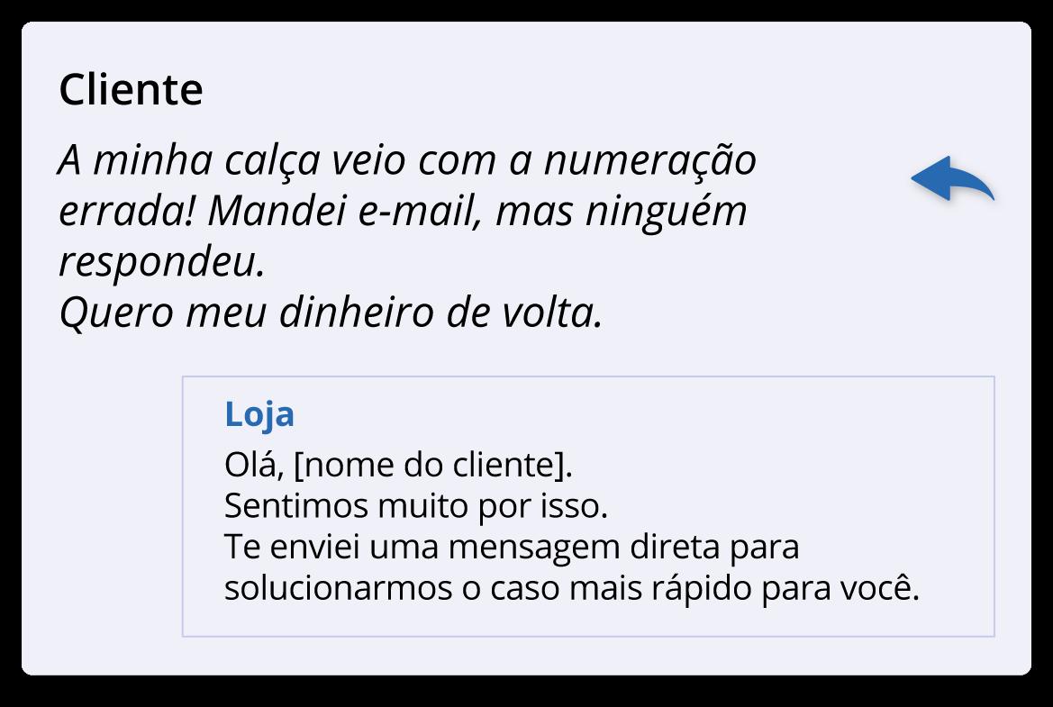 exemplo 2 como responder clientes nas redes sociais